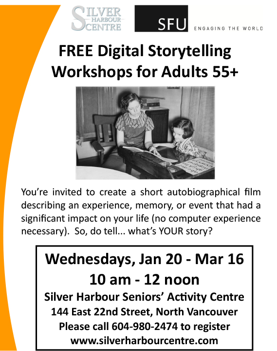 Poster of Digital Storytelling Workshops for Adults 55+
